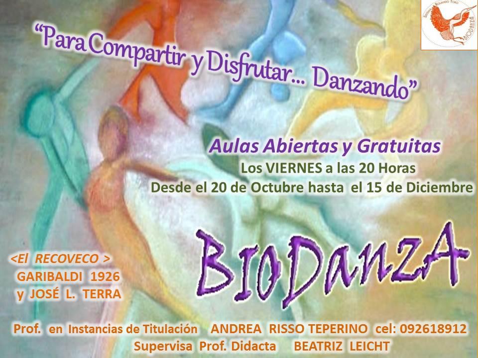 Aulas abiertas de Biodanza – 20 de Octubre al 5 de Diciembre – Montevideo